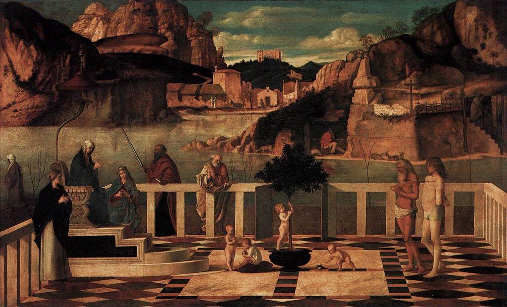 Giovanni Bellini. Allegoria sacra. 1490-1500. Olio su tavola. Firenze, Uffizi