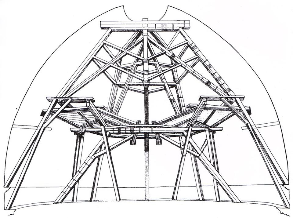 Giovan Battista Nelli, ricostruzione dei ponteggi interni della cupola di Brunelleschi, seconda metà del XVII secolo
