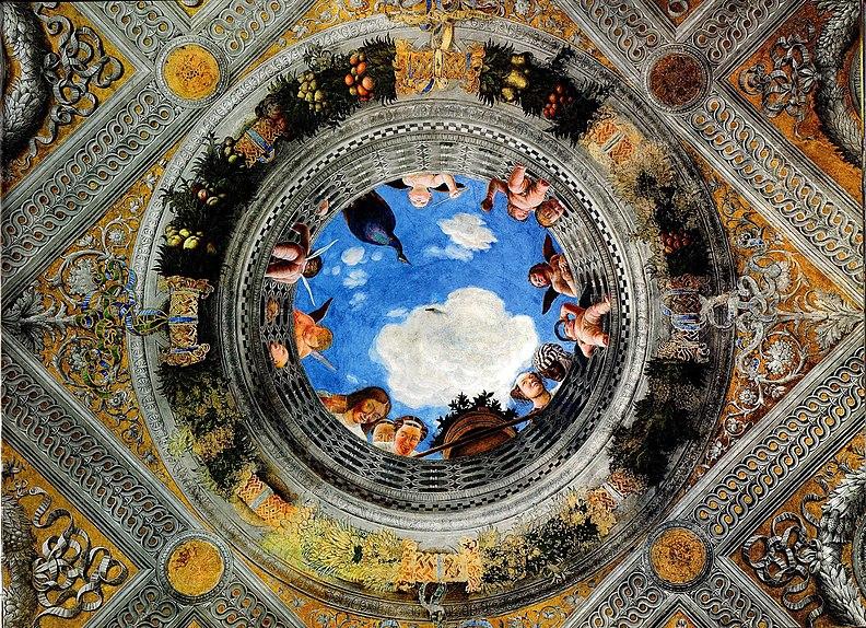 Andrea Mantegna. Oculo nella Camera degli sposi. Affresco 1465-74 Mantova, Castello di San Giorgio