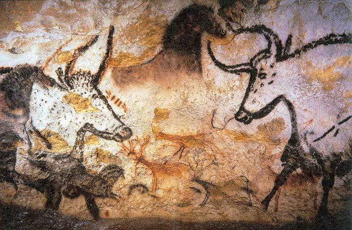 Uri dipinti sulle pareti della grotta di Lascaux. Paleolitico superiore. Francia